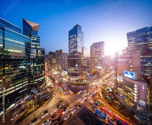 Canvas Print Gangnam business district in Seoul Korea