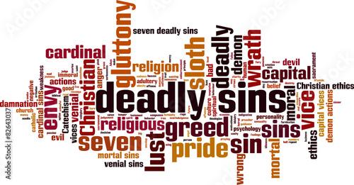 Fotografia Deadly sins word cloud concept. Vector illustration