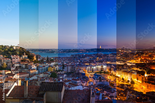 Aerial view montage of Lisbon rooftop from Senhora do Monte view