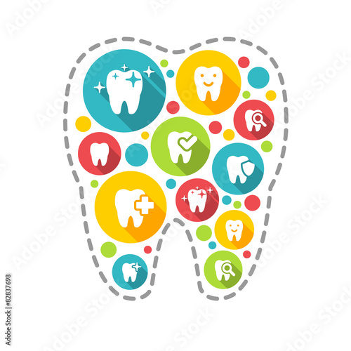 Vector illustration of dental icons set in flat style #82837698