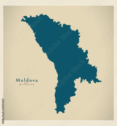 Wallpaper Mural Modern Map - Moldova MD