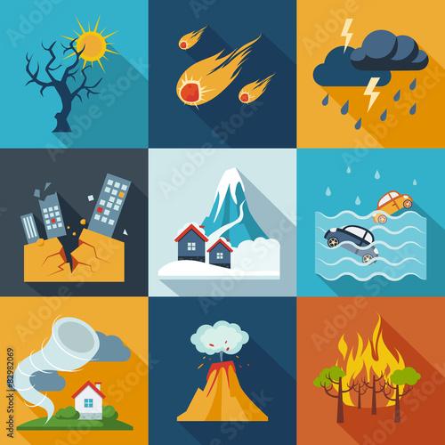 Fototapeta Natural Disaster Icons