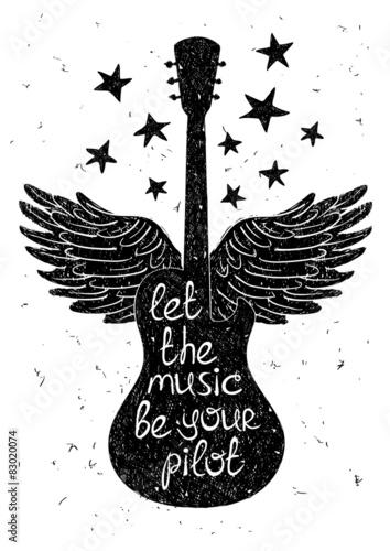 Obraz premium Ręcznie rysowane ilustracja muzyczna z sylwetkami gitary.
