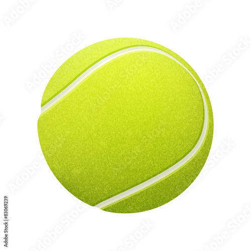 Photo Single tennis ball isolated on white background. Vector EPS10