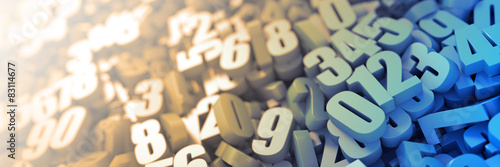 Wallpaper Mural Infinite numbers background, original three dimensional models.