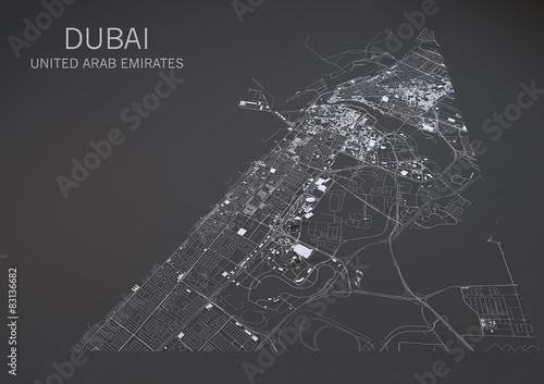 Fotografie, Obraz Cartina di Dubai, vista satellitare, mappa 3d