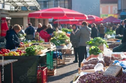 Canvas Print Food market, Croatia