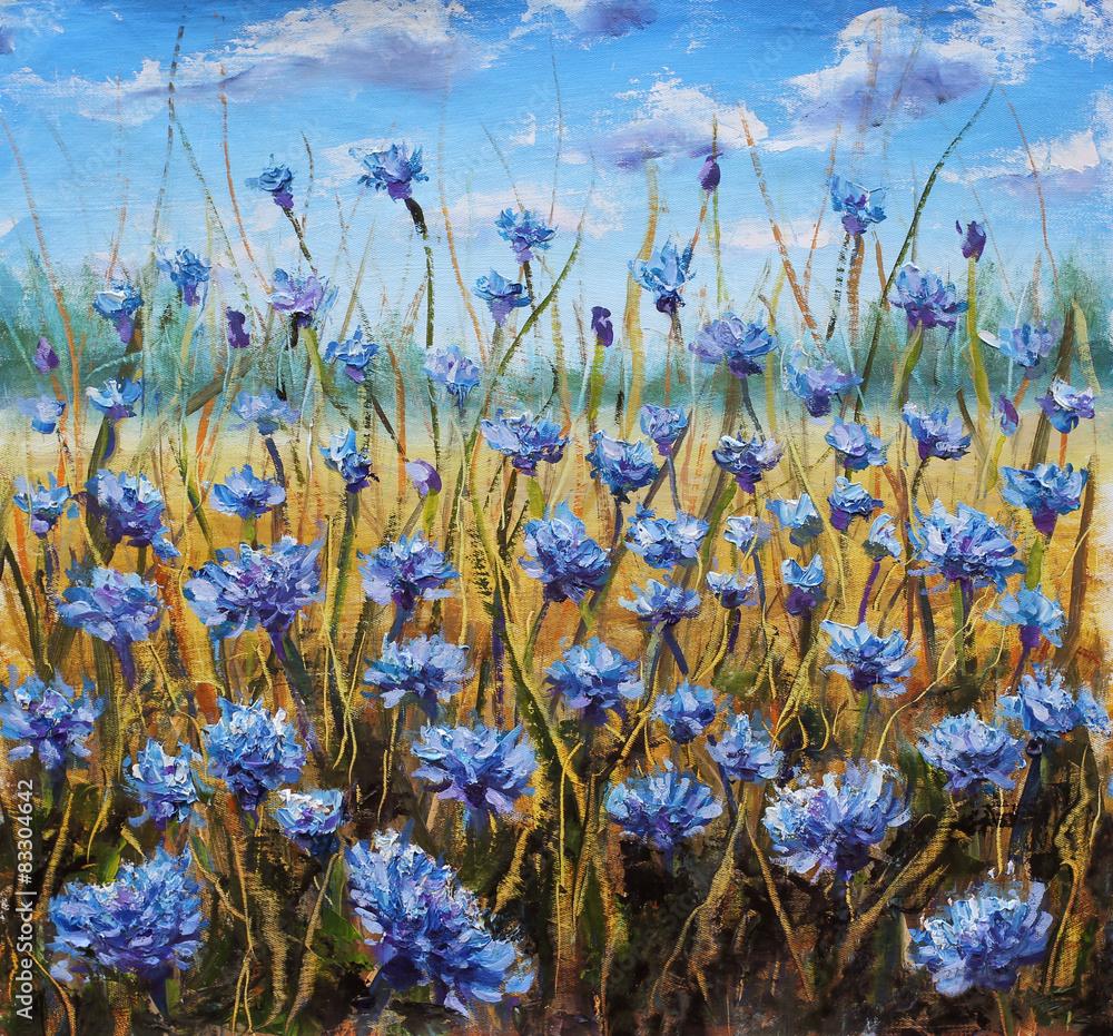 Pole kwiatów. Niebieskie kwiaty na łące. Niebieskie niebo. Obraz olejny. <span>plik: #83304642   autor: weris7554</span>
