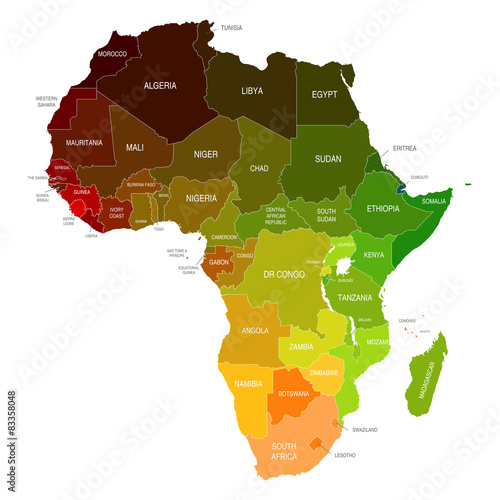 Canvas Print Africa Map Colored Countries Shapes