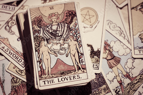 Canvas Print Tarot Cards - Card of The Lovers.