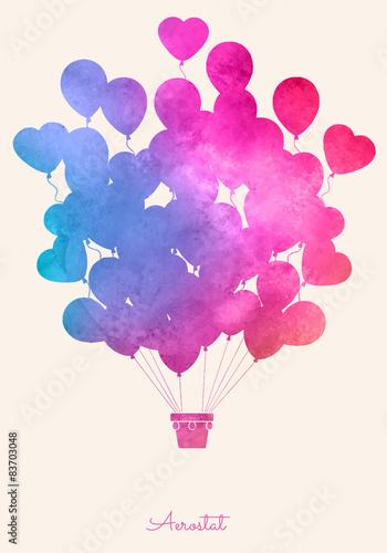 Akwarela_vintage_hot_air_balloon_Celebration_festive_backgroun