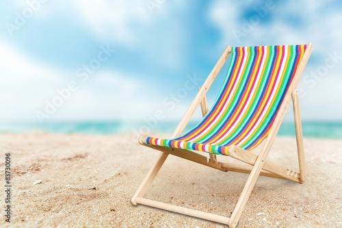 Obraz na płótnie Deckchair, chair, beach.