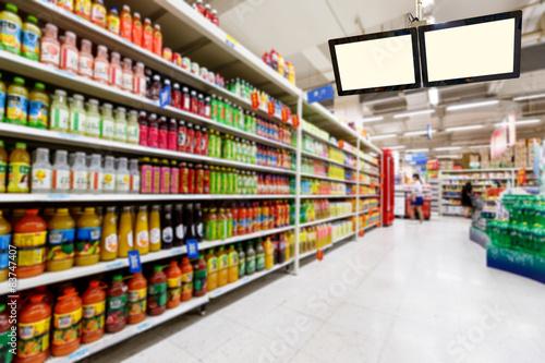 supermarket in blurry for background Fototapet