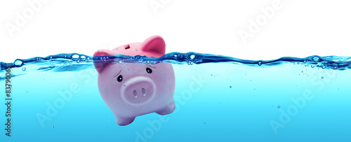 Fotografering Piggy bank drowning in debt - savings to risk