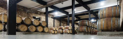 Canvas Print winery with  many wooden barrels