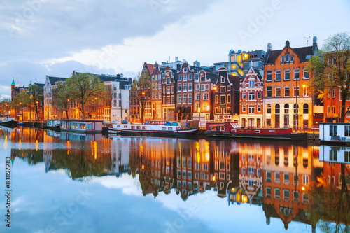 Wallpaper Mural Night city view of Amsterdam, the Netherlands