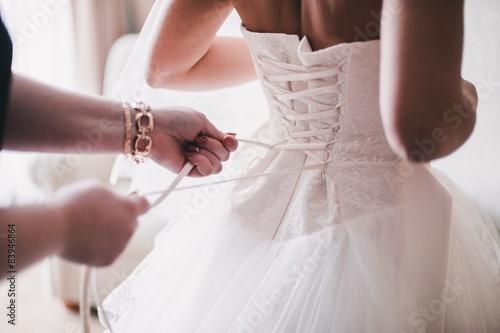 Bride in white dress Fototapeta