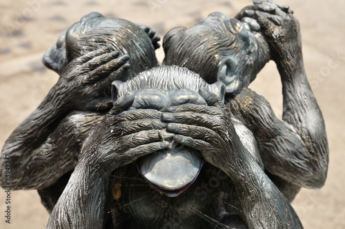 Three wise monkeys or Three Mystic Apes sacred ancient icon