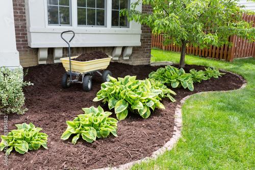 Canvas-taulu Garden maintenance in spring doing the mulching