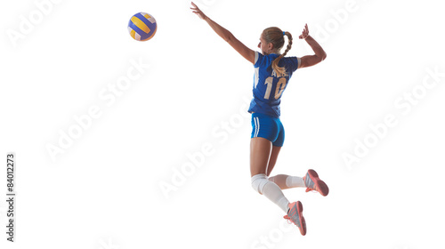Fotografie, Obraz volleyball woman jump and kick ball isolated on white background