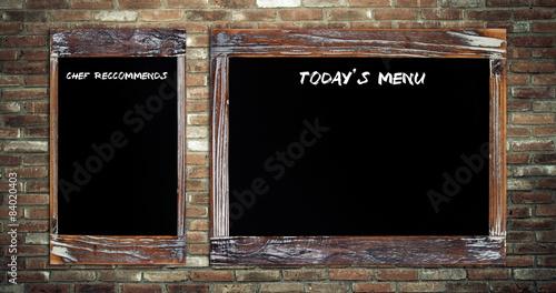 Obraz na plátně Today's menu and Chef recommends on chalk board  background