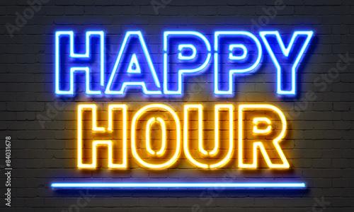 Tablou Canvas Happy hour neon sign