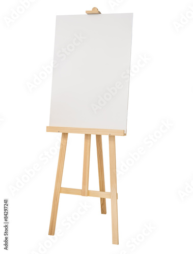Wallpaper Mural Painting stand wooden easel with blank canvas poster sign board