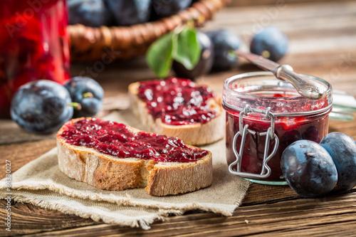 Sandwich with plum jam