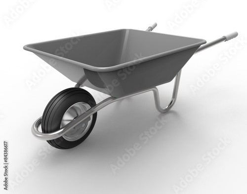 Fotografia wheel barrow isolated on a white back ground
