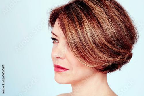 Woman with stylish haircut