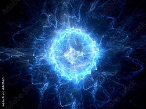Canvas-taulu Blue glowing ball lightning