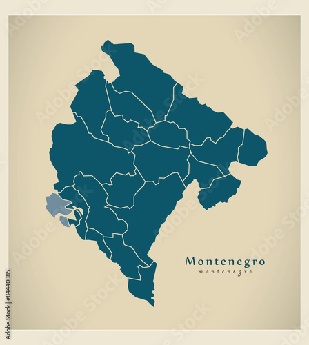 Photo Modern Map - Montenegro with regions ME