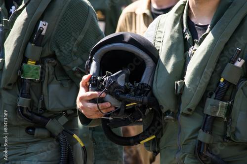 Pilota militare con casco Fototapeta