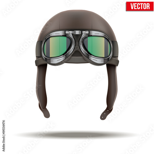 Slika na platnu Retro aviator pilot helmet with goggles. Isolated on white