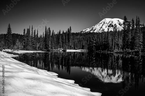 Canvas Mt Rainier in winter reflection in lake