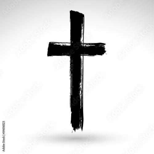 Fotografia Hand drawn black grunge cross icon, simple Christian cross sign,