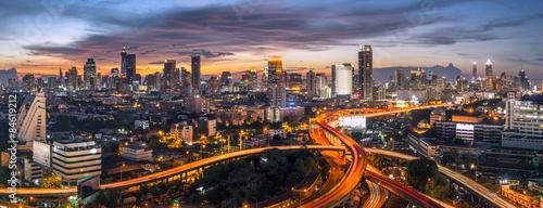 Canvas Print panorama bangkok city sunset trafic road, Night rooftop view skyline highway twi