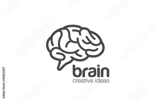 Valokuva Brain Logo design vector template. Generate idea...Brainstorming