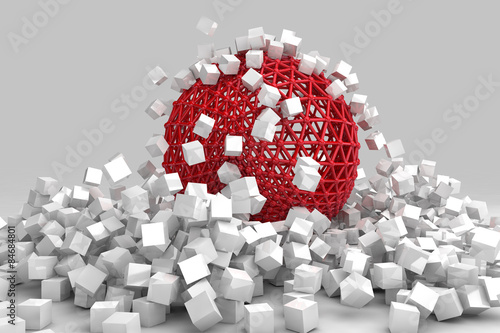 Crash of white cubes and hollow sphere. 3D render image.