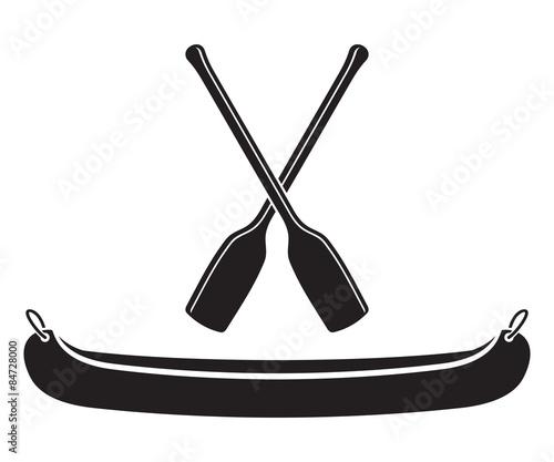 Slika na platnu Canoe with Paddle Vector Illustration