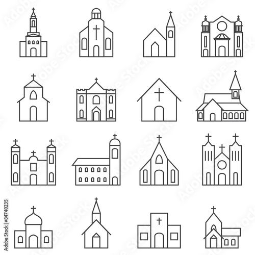 Leinwand Poster church building icon vector set