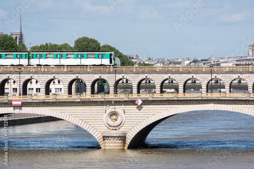 Subway train on a bridge in Paris