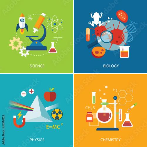 science concept ,physics ,chemistry,biology flat design