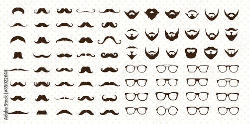 Fotografia Mustaches, Beard and Sunglasses style set