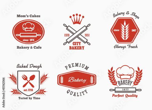 Fotografia Bakery cafe bistro logo set