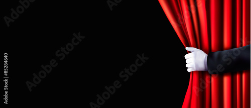 Fotografia Background with red velvet curtain and hand. Vector illustration