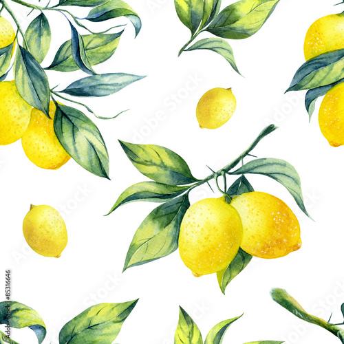 Obraz na plátně A seamless lemon pattern on white background.