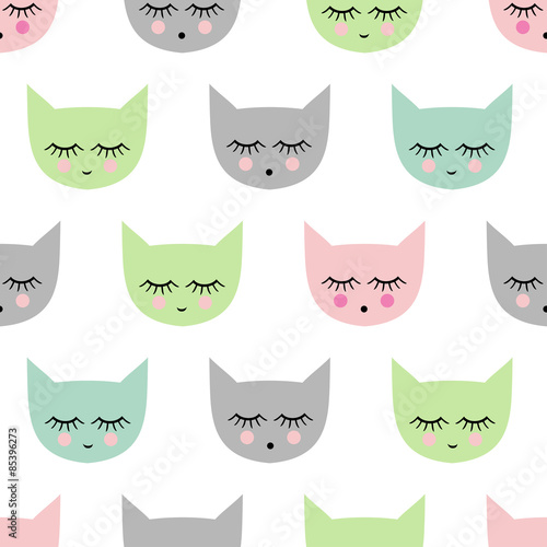 Seamless pattern with smiling sleeping cats for kids holidays. Cute bright baby shower vector background. Child drawing style kitty.