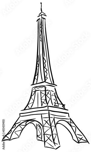 Fotografiet Vector illustration of Tower Eiffel.
