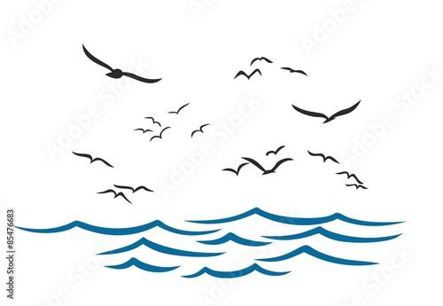 Wallpaper Mural Sea landscape with seagulls.